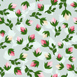 Seamless pattern with rosebuds. Vector illustration.