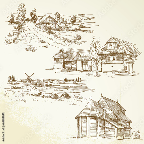 rural landscape, agriculture - hand drawn collection - 46484090