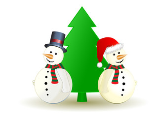 Snowman with Christmas tree, vector