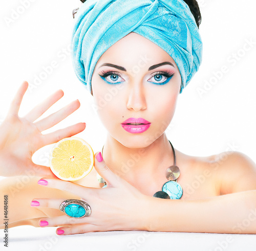 Healthy eating, health care. Nutrition. Beauty woman,  lemon