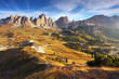 Italy Dolomites Alps moutnain at sunrise - passo gardena