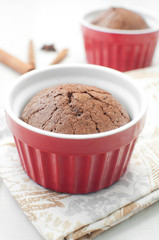 Chocolate molten cake in ramekin