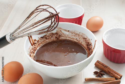 Chocolate syrup or batter cooking