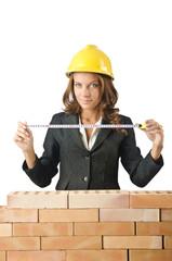 Woman architect near brick wall