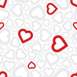 Fototapety Bright love red heart seamless background pattern