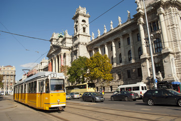 Tram number 2 in Budapest (Hungary)