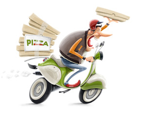 man delivering pizza on bicycle illustration isolated on white