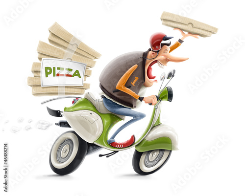 canvas print picture man delivering pizza on bicycle illustration isolated on white