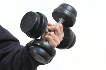 hand holding a dumbbells