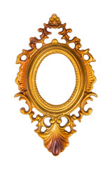 Oval gold picture frame isolated on white (with clipping path)