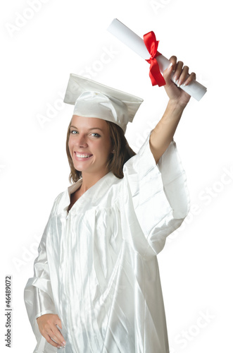 Young student with diploma on white