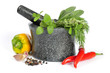 Granite mortar with fresh herbs