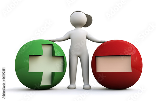 3D Man with plus and minus symbols