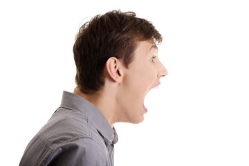 Frustrated young businessman shouting