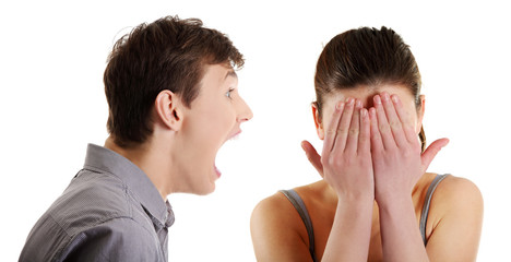 Man shouting on woman