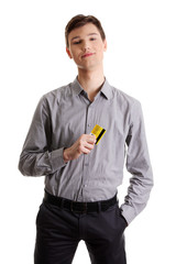 Young businessman holding credit card
