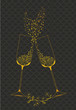 Decorative golden goblets of wine