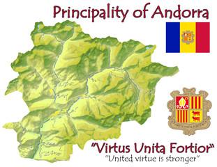 Andorra Europe national emblem map symbol motto