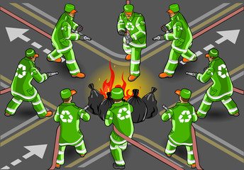 isometric set of street sweeper man in eight positions