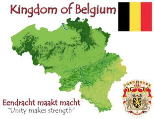 Belgium Kingdom national emblem map symbol motto