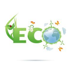 Eco-planet text symbol