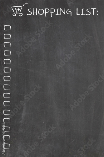 shopping list on blackboard