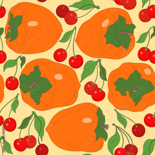 seamless pattern with persimmon and cherries