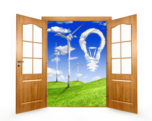 Open the door to the spring landscape with wind turbines