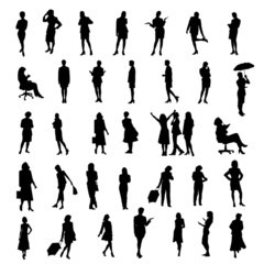 set of women silhouettes