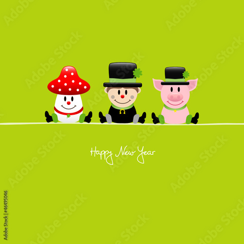 Sitting Fly Agaric, Chimney Sweep & Pig