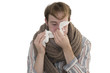Kranker Mann beim Nase putzen - Freisteller