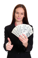 young woman holding a 100 dollar bill