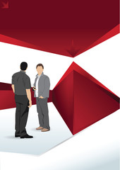 Red vector brochure background with people