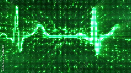 digital pixel EKG pulse green loop
