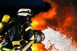 Leinwanddruck Bild - Feuerwehr - Feuerwehrmänner löschen Brand