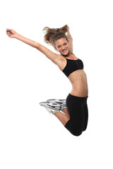 jumping girl, enjoying fitness and weight  loss