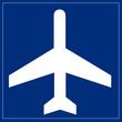 Schild blau - Flugzeug
