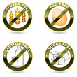 Beautiful diet icons. Gluten free, lactose free and egg free