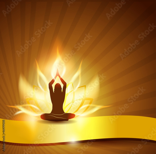 Beautiful lotus flower like fire, woman in yoga pose