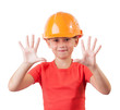 Cheerful child in a protective helmet