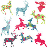 Set of Reindeer Christmas Silhouettes - for your design or scrap