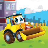The happy tractor - illustration for the children