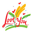 Love You confession date feeling postcard flowers hearts