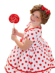 A Girl Holds A Red Lollipop