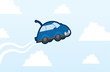 Car flying in the sky with clouds