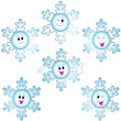 Christmas snowflakes icon set