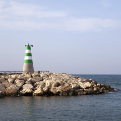 Distant view of lighthouse in Tel Aviv. Israel