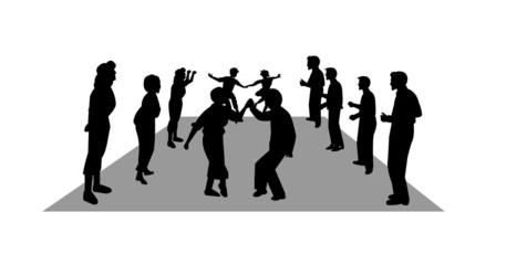 stroll dancers in silhouette