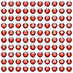 100 Vektor Buttons Icon Set Rot