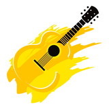Music instrument wooden acoustic Guitar with strings poster